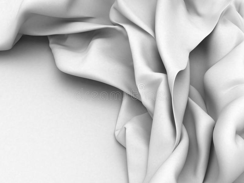 White satin silk texture clean soft background. 3d render illustration royalty free illustration