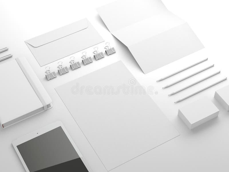 White sationery elements. On white background royalty free illustration