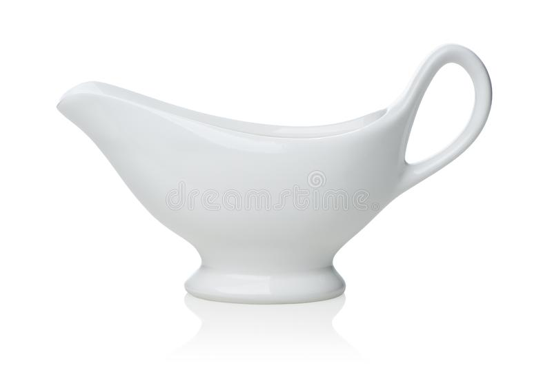 White sauce boat. Isolated on a white background stock images
