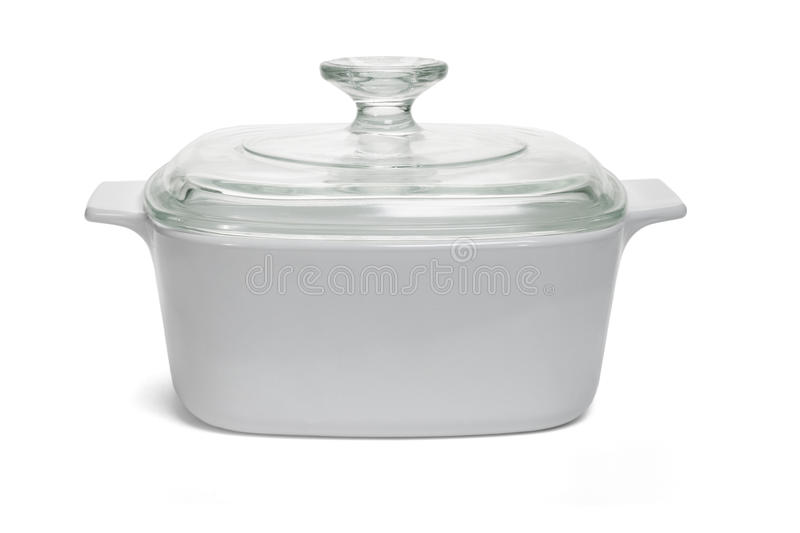 White saucepan with glass lid royalty free stock image