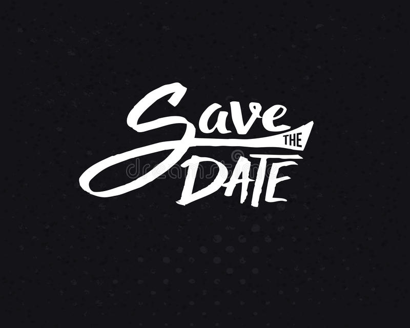 White Save the Date Texts on Abstract Black stock illustration