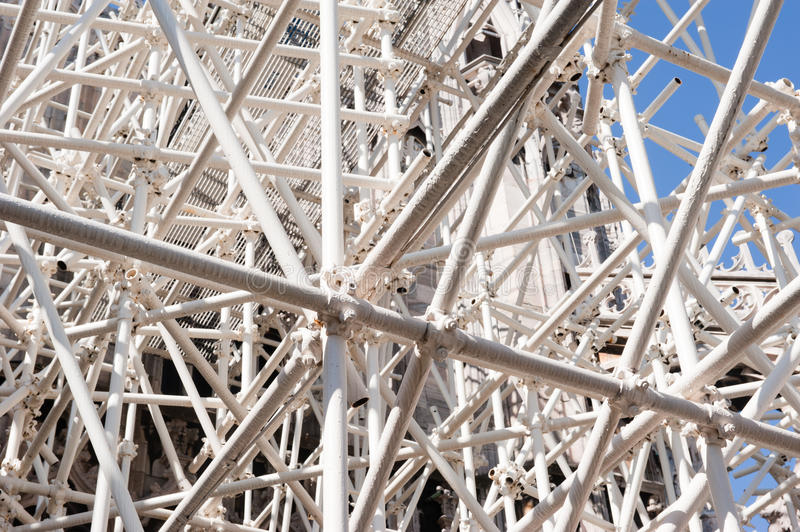 Download White scaffolding stock photo. Image of upright, repair - 24430194
