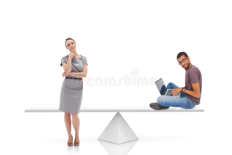 White scales measuring businesswoman and man royalty free stock photos