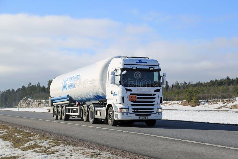 White Scania Semi Tank Truck in ADR Haul stock photos