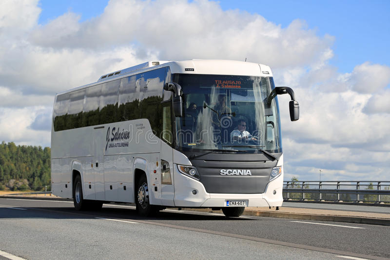 White Scania Touring Bus on the Road at Summer stock photography