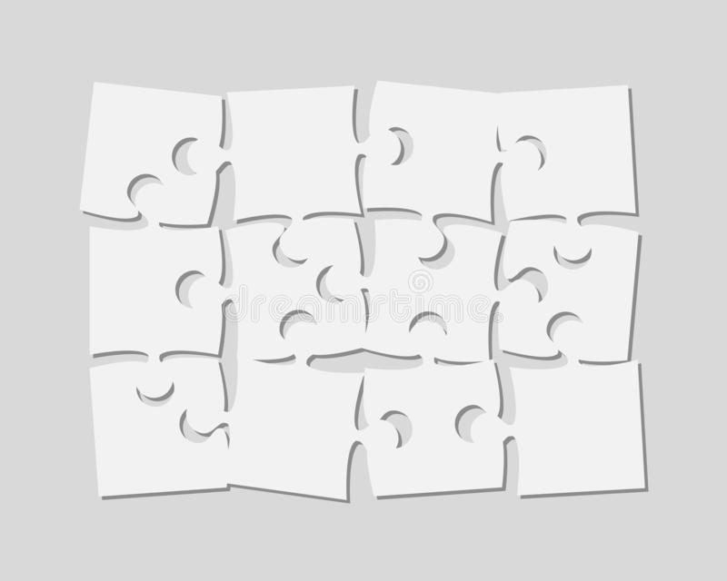 The 12 Pieces Puzzle Banner Jigsaw of Signboard. 12 White Scattered Pieces Puzzle Rectangle Banner. Puzzle Signboard. Pieces Puzzles Background. Store Board stock illustration