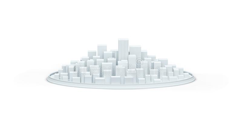 White schematic city 3d illustration render royalty free illustration