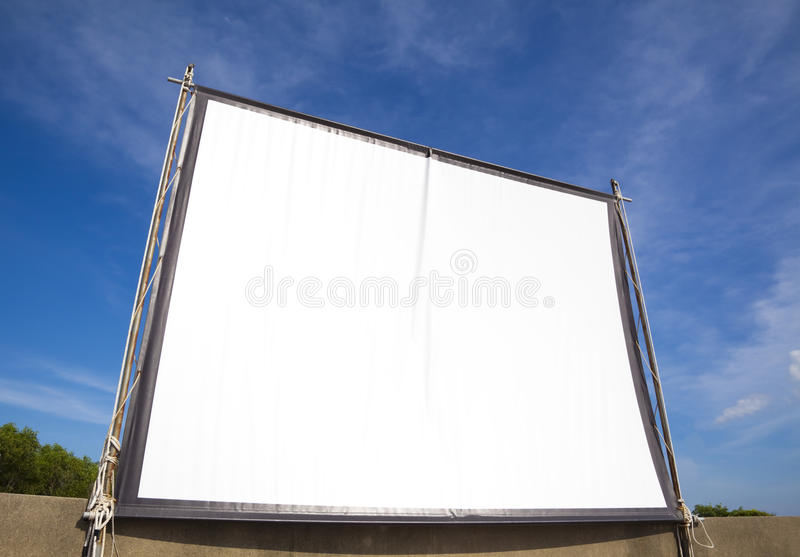 Download White Screen For Cinema On Outdoor Stock Photo - Image: 18053116