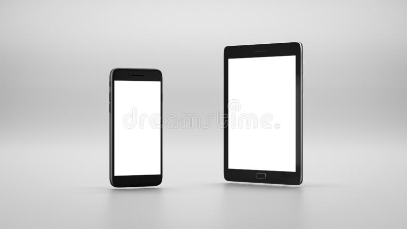 White Screen Smartphone and Tablet Pc vector illustration