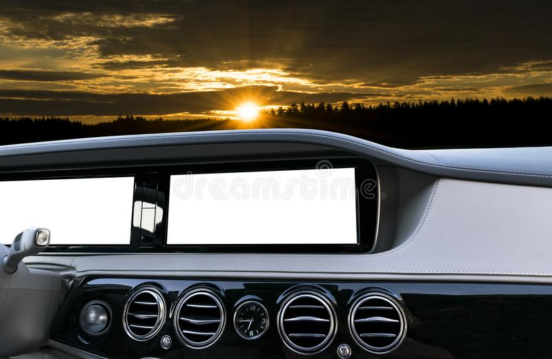 White Screen system display for GPS Navigation and Multimedia as automotive technology in car. white copy space of touch screen. Modern car dashboard empty stock image