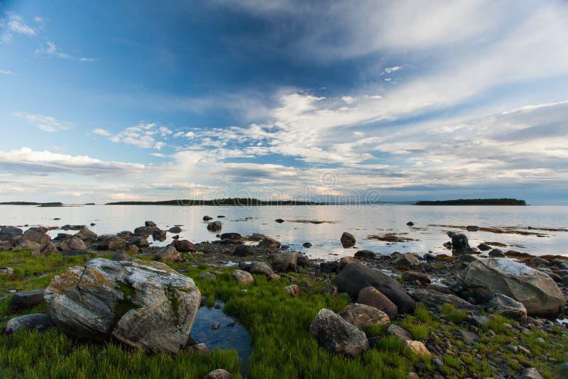 White sea, Luvenga, white polar night, russian nord. Sky with clouds sundown stock images