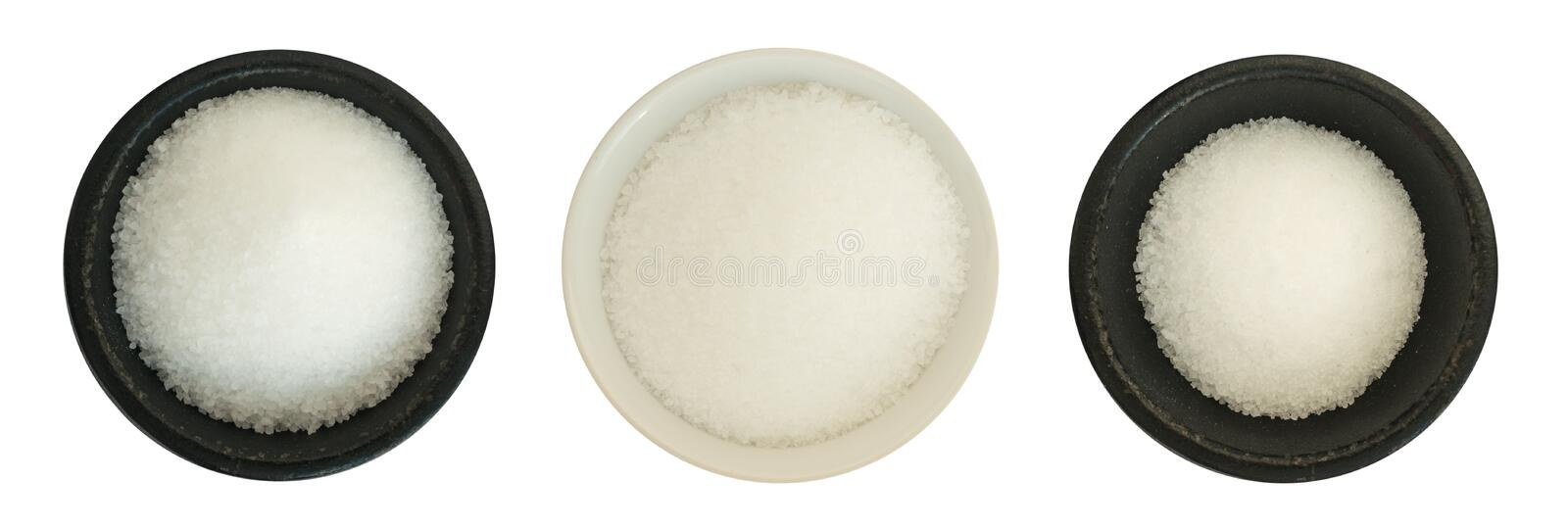 White Sea Salt in a Round Bowl Isolated royalty free stock image