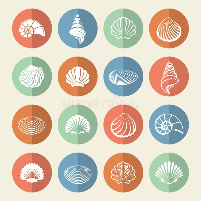 White sea shells icons set vector illustration