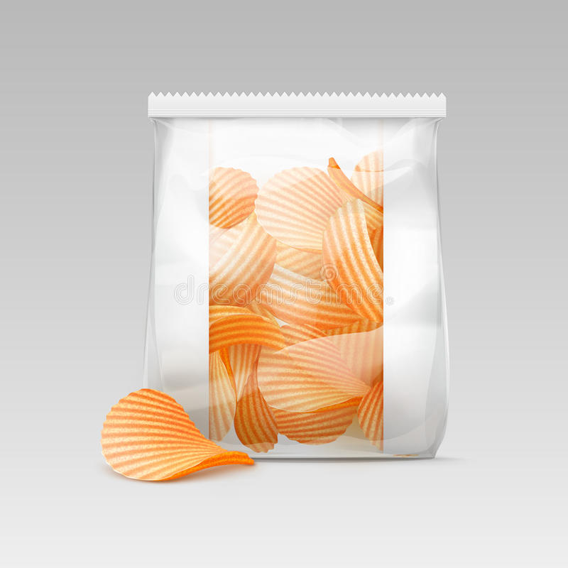 Free White Sealed Plastic Bag With Potato Crispy Chips Stock Photography - 78925692