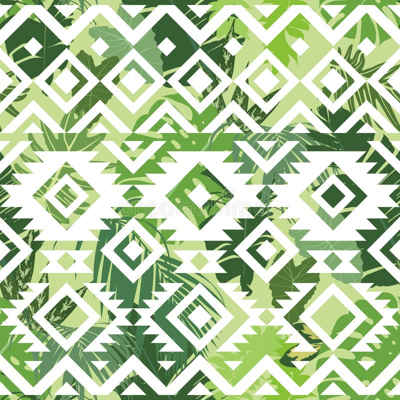 Seamless ethnic tropical pattern stock illustration
