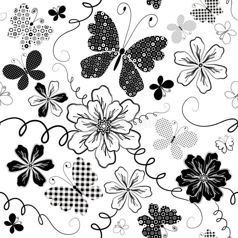 White seamless floral pattern royalty free illustration