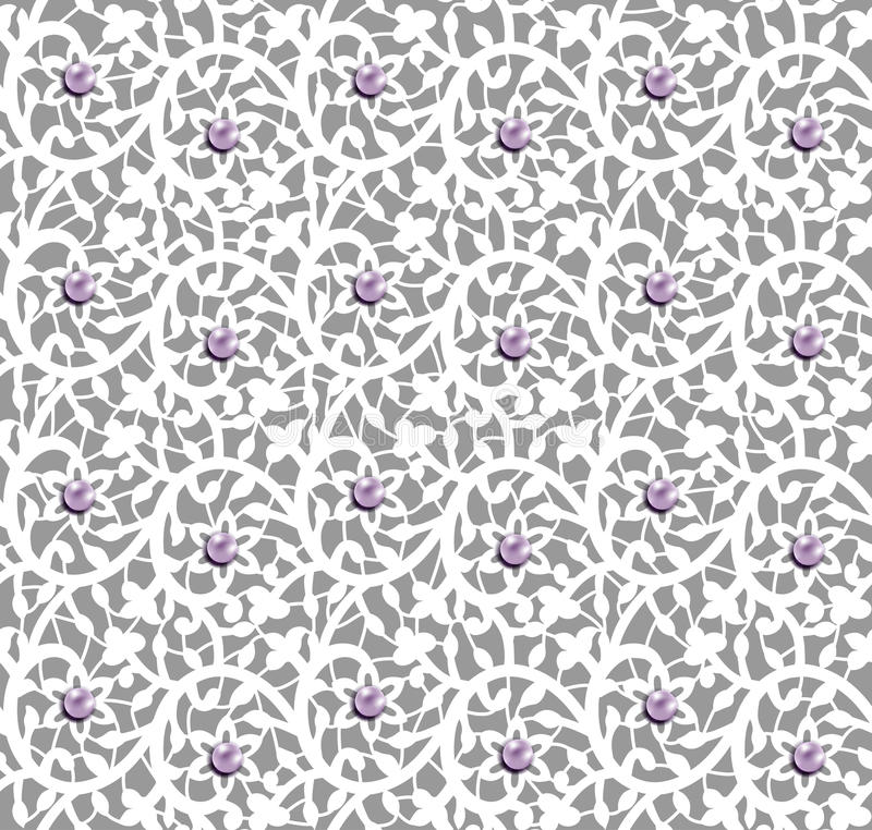 White Seamless Floral Pattern With Lace And Pearls Stock ...