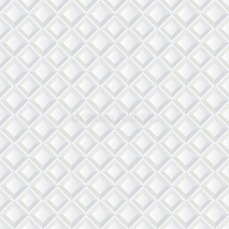 White seamless geometric texture. Tile background. White texture, seamless abstract square tile pattern stock illustration