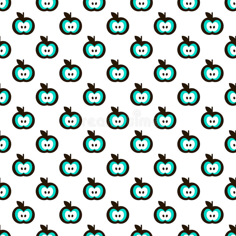 White Seamless Pattern with Apples stock illustration