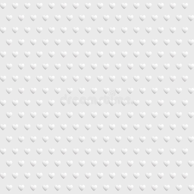 White seamless texture with hearts. White vector seamless texture with hearts vector illustration