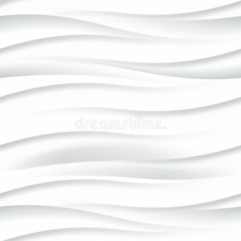 White seamless texture. Wavy background. Interior decoration. White seamless texture. Wavy background. Interior wall decoration. 3D Vector interior wall panel vector illustration