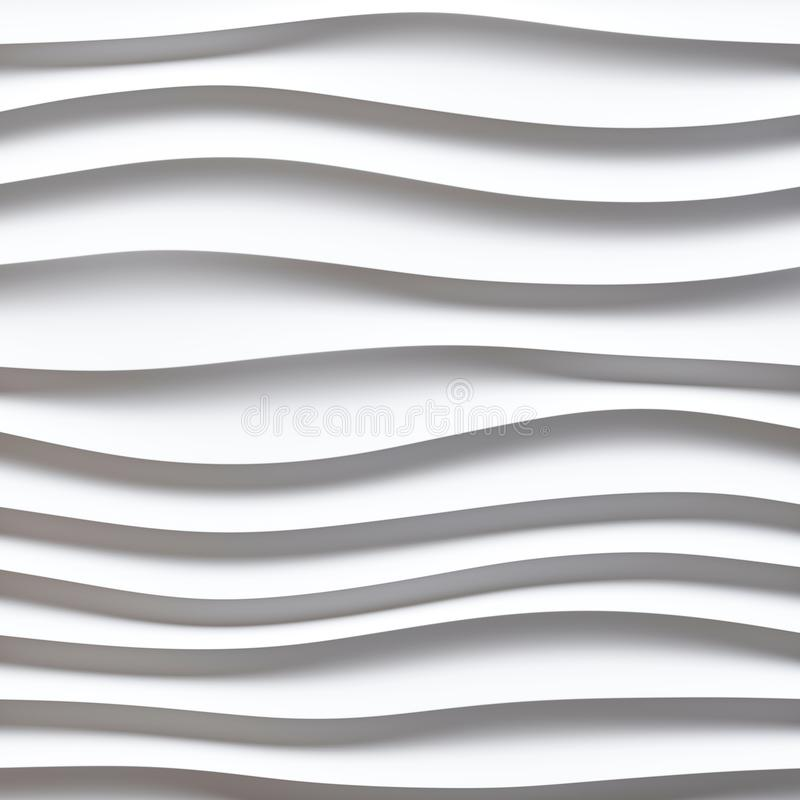 Free White Seamless Texture. Wavy Background. Interior Wall Decoration. 3D Interior Wall Panel Pattern. White Background Of Abstract W Royalty Free Stock Photo - 127208585