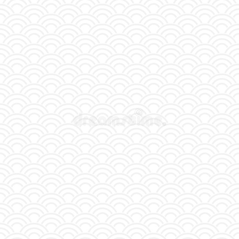 White seamless Traditional japanese seigaiha ocean wave royalty free illustration