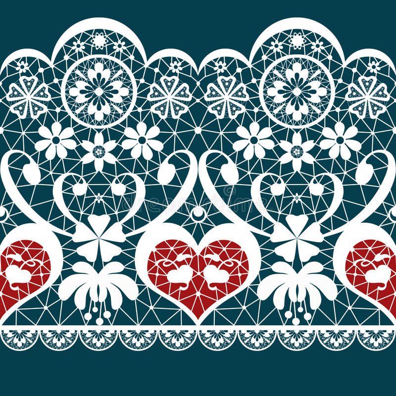 White seamless valentine lace pattern texture on blue. Background vector illustration