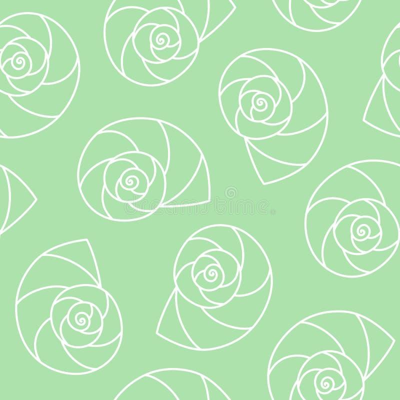 White seashells nautilus pompilius spiral on green background sea ocean shell pattern seamless vector stock images