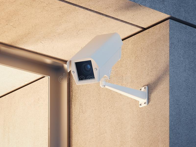 Security camera at the entrance of the building. 3d rendering stock illustration
