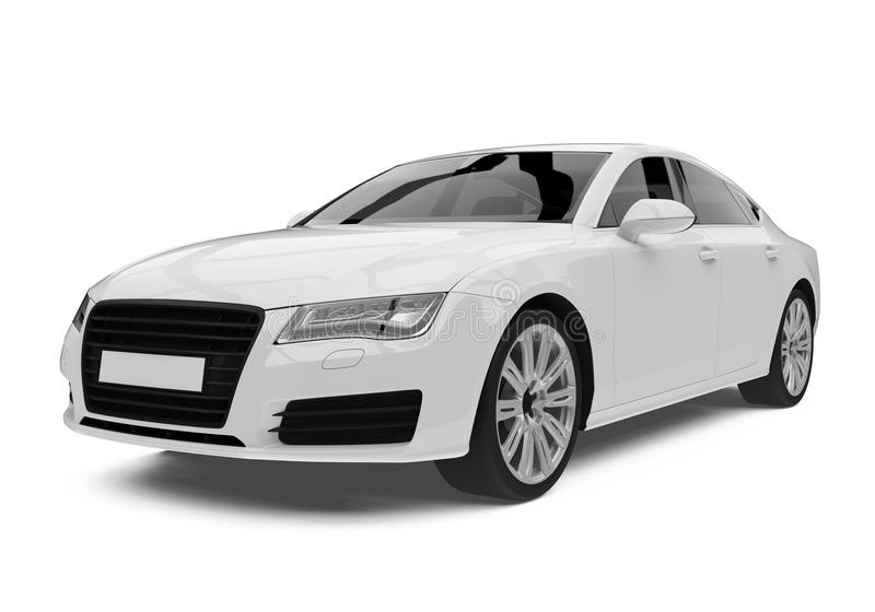White Sedan Car Isolated royalty free illustration