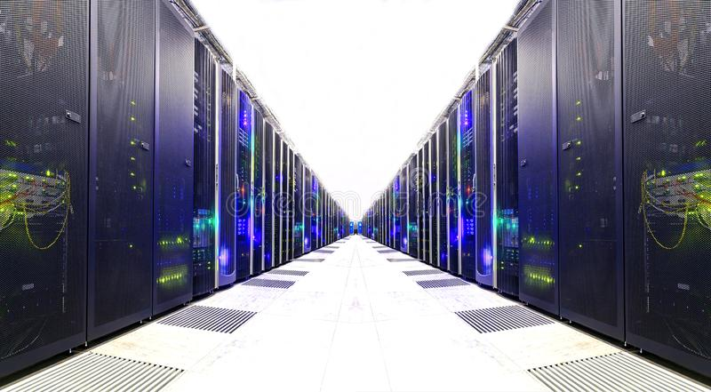 White Server Room Network communications server cluster in a server room. . futuristic modern data center. Futuristic modern server room in the data center stock image
