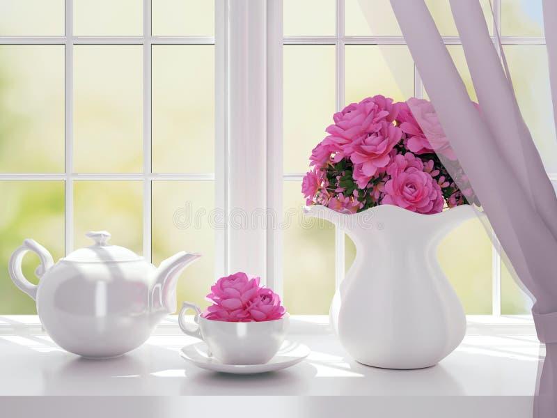 White service on a windowsill. stock illustration