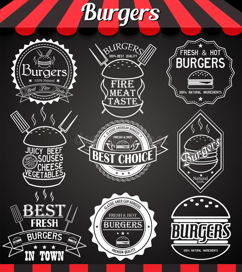 White set burger icons, labels, signs, symbols and badges on blackboard stock illustration