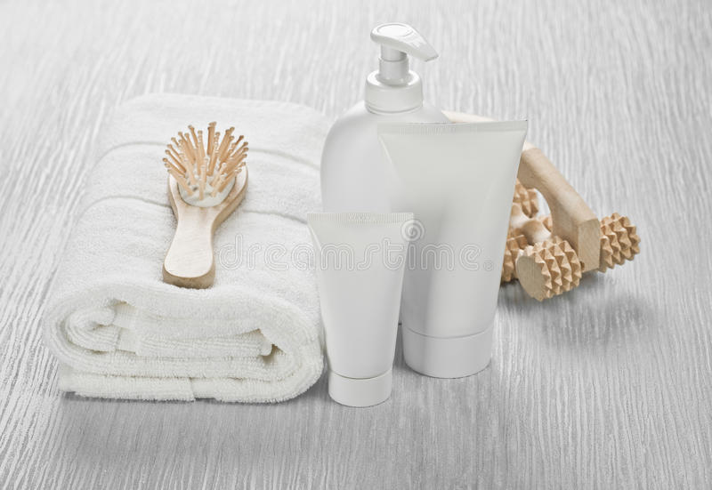Download White Set With Hairbrush And Massager Stock Photo - Image: 17361556