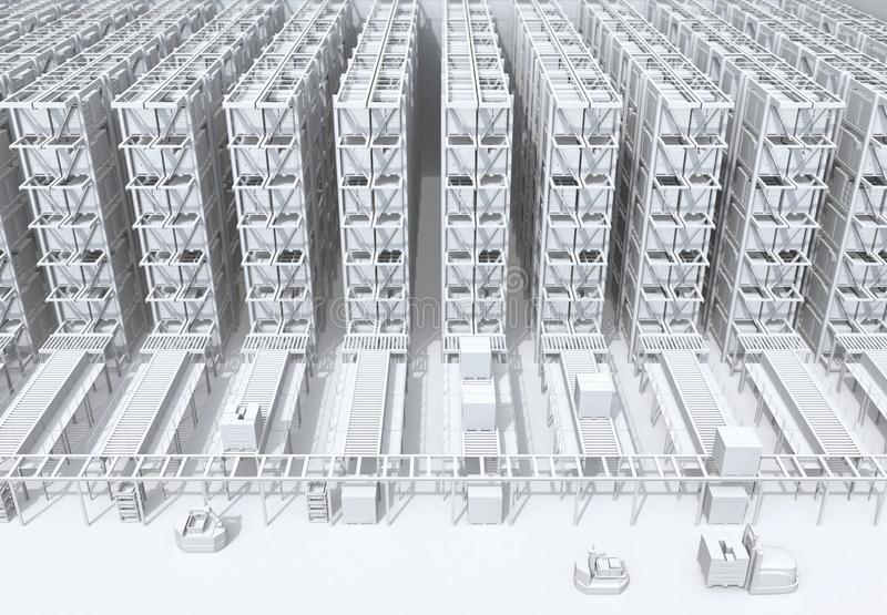 White shading of modern Automated Logistics Center`s interior royalty free stock photos