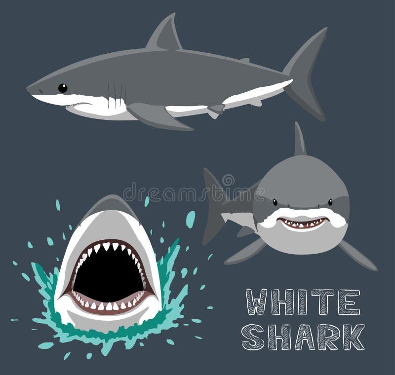 White Shark Cartoon Vector Illustration vector illustration