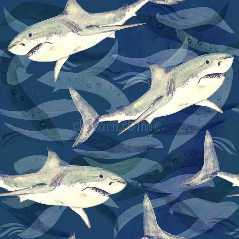White shark, hand painted watercolor illustration, seamless pattern on dark blue ocean surface with waves stock illustration