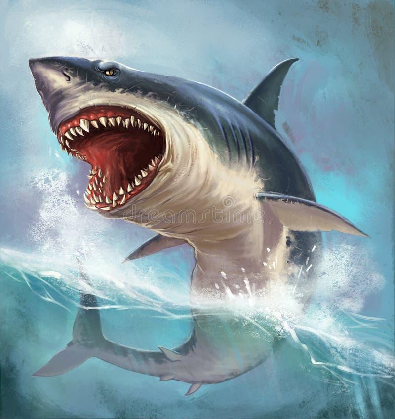 White shark. Huge evil shark white on the high seas stock illustration