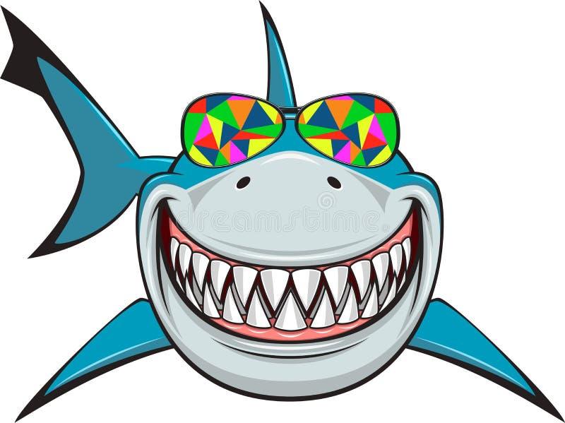 White shark. Vector illustration, toothy smiling white shark swims in colored glasses vector illustration