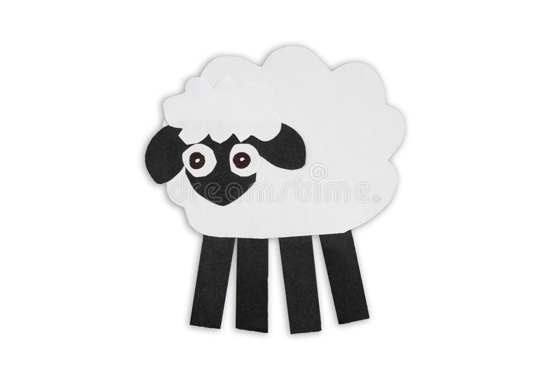 White sheep cut out of paper isolated on white background stock photography