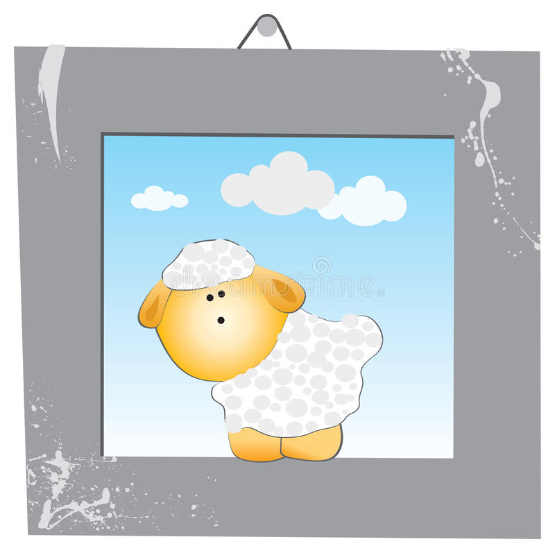 The white sheep in the gray frame