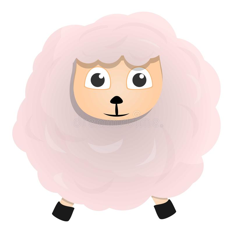 White sheep icon, cartoon style vector illustration