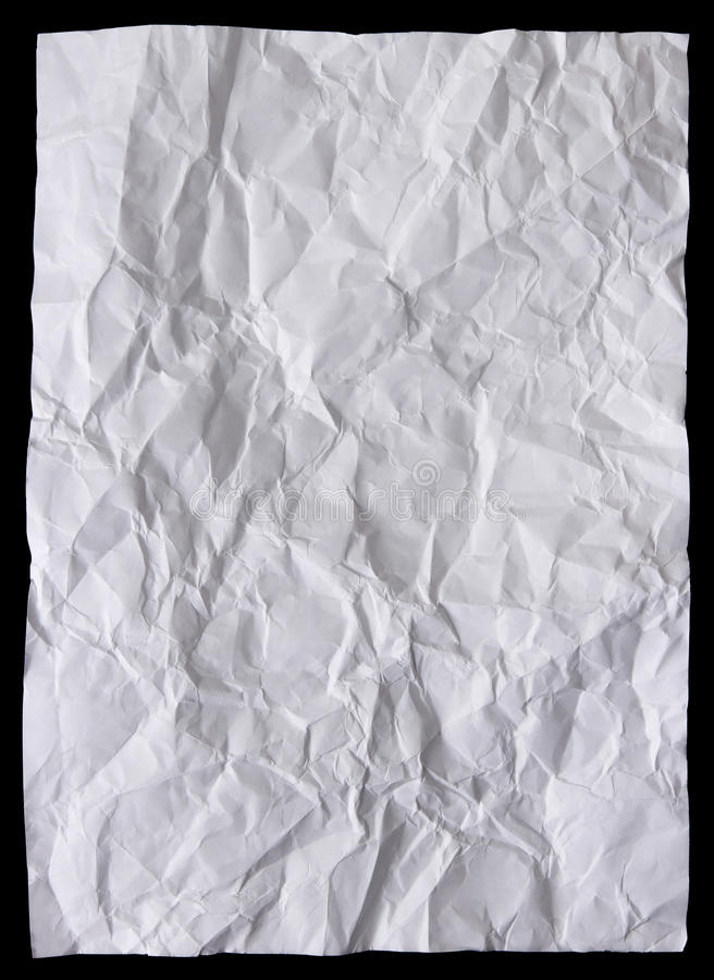White sheet of paper wrinkled. Isolated on black background royalty free stock photography