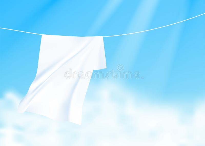 White sheets dried on a rope on the wind. Realistic vector illustration with blue sky and sunshine on background. stock illustration