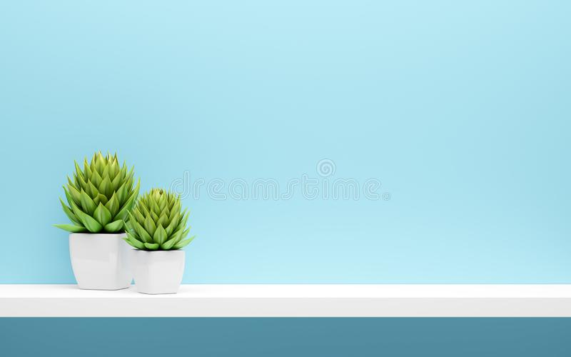 White shelf on blue wall with green potted plants. Mock up stock illustration