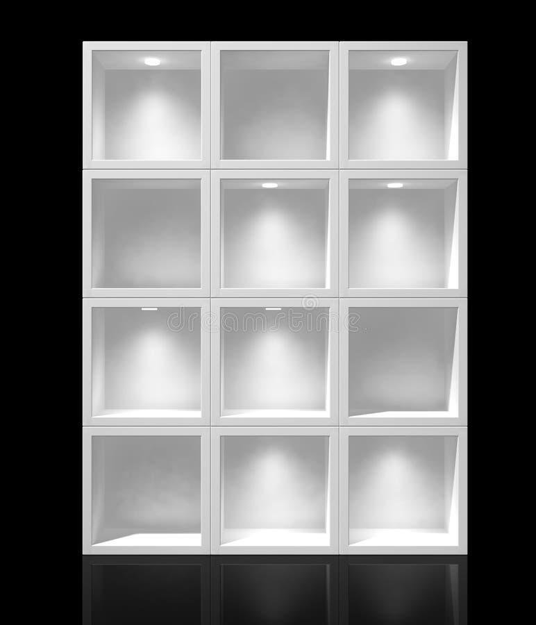 White shelves. 3d white shelves for exhibit royalty free illustration