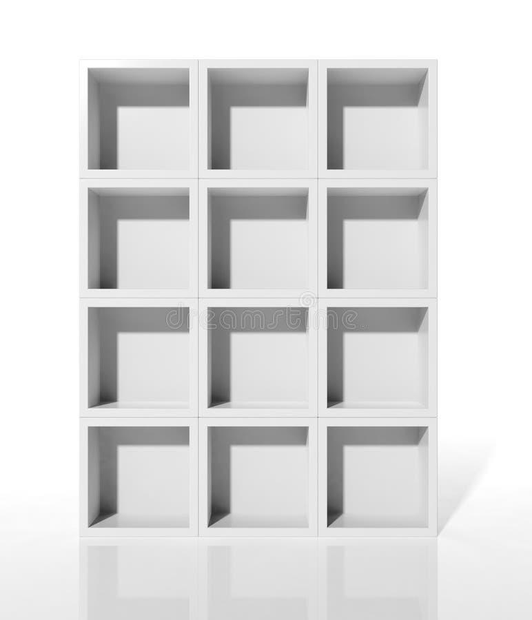 White shelves. 3d white shelves for exhibit vector illustration