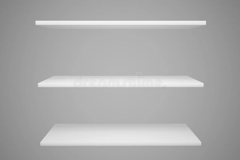 White shelves isolated. White shelves isolate on gray background vector illustration