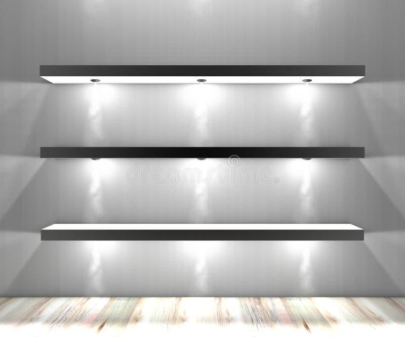 White shelves with lights illuminated spotlights. For books royalty free illustration